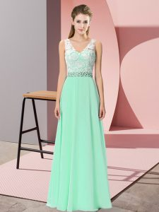 Floor Length Empire Sleeveless Apple Green Homecoming Dress Lace Up