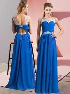 Floor Length Clasp Handle Hoco Dress Blue for Prom and Party with Beading