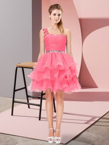 Mini Length Watermelon Red One Shoulder Sleeveless Lace Up