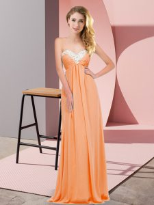 Artistic Orange Red Empire Chiffon Sweetheart Sleeveless Ruching Floor Length Lace Up Homecoming Dresses