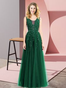 Dark Green Sleeveless Tulle Backless Junior Homecoming Dress for Prom and Party
