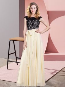 Comfortable Chiffon Scoop Sleeveless Lace Up Lace and Belt Homecoming Gowns in Champagne
