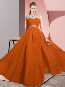 Classical Rust Red Clasp Handle Homecoming Party Dress Beading Sleeveless Floor Length