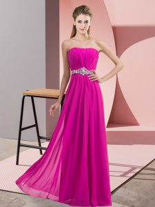 Fantastic Fuchsia Lace Up Homecoming Dress Online Beading Sleeveless Floor Length