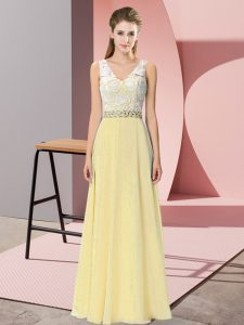 Light Yellow Sleeveless Chiffon and Lace Backless Homecoming Gowns for Prom and Party