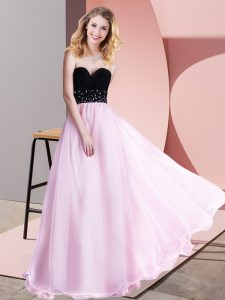 Graceful Sleeveless Lace Up Floor Length Beading Hoco Dress