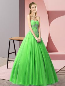 Green Tulle Lace Up Prom Homecoming Dress Sleeveless Floor Length Beading