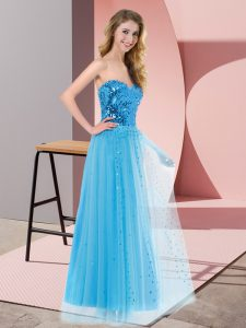 Fine Sequins Homecoming Dress Online Blue Lace Up Sleeveless Floor Length