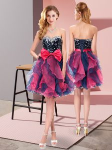 Exceptional Mini Length Multi-color Homecoming Party Dress Organza Sleeveless Beading and Ruffles and Bowknot