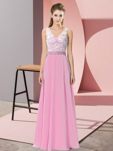 Deluxe V-neck Sleeveless Chiffon and Lace Homecoming Gowns Beading Backless