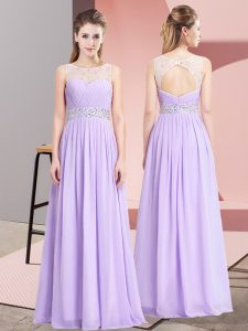 Lavender Empire Chiffon Scoop Sleeveless Beading Floor Length Lace Up Homecoming Dress
