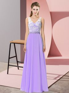 Admirable Sleeveless Backless Floor Length Beading Homecoming Dress
