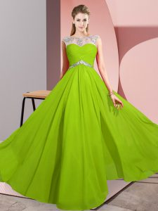 Unique Chiffon Sleeveless Floor Length Homecoming Gowns and Beading