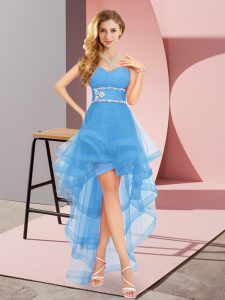 Customized Baby Blue Lace Up Homecoming Dress Online Beading Sleeveless High Low