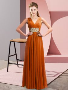 Flare Rust Red Empire Beading and Ruching Homecoming Party Dress Side Zipper Chiffon Sleeveless Floor Length