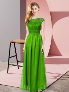 Green Empire Lace Homecoming Gowns Zipper Chiffon Sleeveless Floor Length
