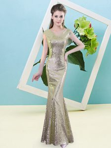 Yellow Cap Sleeves Floor Length Sequins Zipper Homecoming Dresses