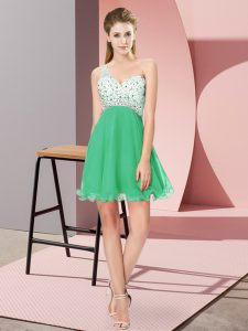 Edgy Turquoise Criss Cross Homecoming Party Dress Beading Sleeveless Mini Length