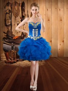 Royal Blue Ball Gowns Embroidery and Ruffles Hoco Dress Lace Up Organza Sleeveless Mini Length