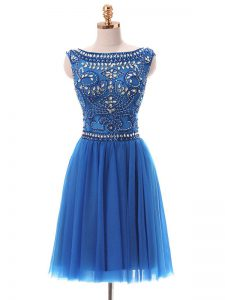 Graceful Blue Zipper Beading Sleeveless Mini Length