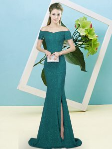 Turquoise Sequined Zipper Off The Shoulder Short Sleeves Prom Homecoming Dress Sweep Train Sequins