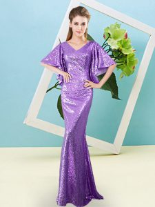 Classical Lavender Half Sleeves Sequins Floor Length Homecoming Gowns