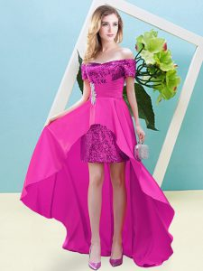 Excellent Fuchsia Empire Elastic Woven Satin and Sequined Off The Shoulder Short Sleeves Beading High Low Lace Up Hoco Dress