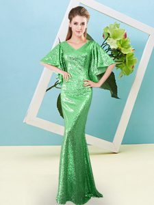 Nice Sequined Half Sleeves Floor Length Prom Homecoming Dress and Sequins