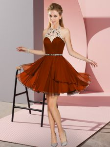 Sophisticated Mini Length Rust Red Homecoming Party Dress Sweetheart Sleeveless Zipper