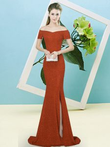 Flare Rust Red Short Sleeves Sequined Sweep Train Zipper Hoco Dress for Prom and Party
