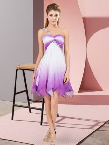 Sleeveless Lace Up Asymmetrical Beading Hoco Dress