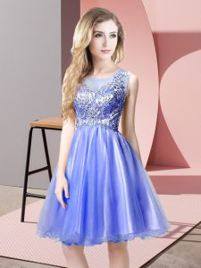 Unique Blue Tulle Zipper Scoop Sleeveless Knee Length Prom Homecoming Dress Beading