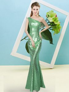 Extravagant One Shoulder Sleeveless Hoco Dress Floor Length Sequins Turquoise Sequined
