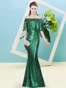 Fabulous Sequined Off The Shoulder Half Sleeves Zipper Sequins Homecoming Dresses in Dark Green