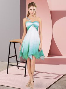 Asymmetrical Lace Up Homecoming Gowns Multi-color for Prom and Party with Beading