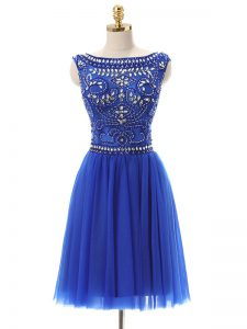 Customized Tulle Bateau Sleeveless Zipper Beading Prom Homecoming Dress in Royal Blue