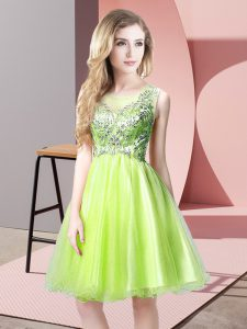 Tulle Scoop Sleeveless Zipper Beading in Yellow Green