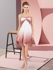 Flirting Multi-color Empire Fading Color One Shoulder Sleeveless Beading Asymmetrical Lace Up Homecoming Gowns