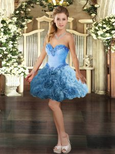 Baby Blue Sleeveless Mini Length Beading Lace Up Homecoming Dress Online