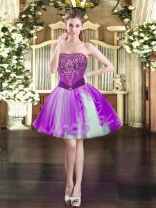Mini Length Ball Gowns Sleeveless Purple Lace Up