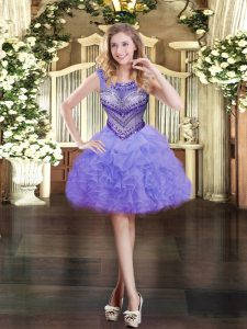 Sleeveless Zipper Mini Length Beading and Ruffles and Pick Ups Homecoming Party Dress