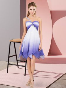 New Style Multi-color Empire One Shoulder Sleeveless Fading Color Asymmetrical Lace Up Beading Hoco Dress