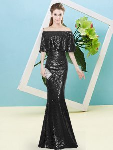 Floor Length Black Homecoming Party Dress Off The Shoulder Half Sleeves Zipper