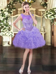 Comfortable Ball Gowns Homecoming Party Dress Lavender Scoop Organza Sleeveless Mini Length Lace Up