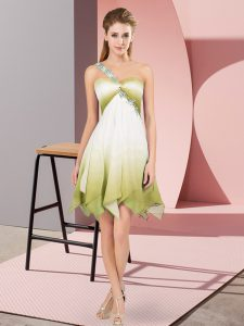 Captivating One Shoulder Sleeveless Fading Color Homecoming Party Dress Beading Lace Up