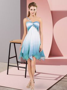 Popular Multi-color Lace Up Hoco Dress Beading Sleeveless Asymmetrical