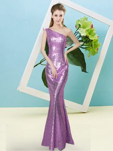 Fantastic One Shoulder Sleeveless Zipper Homecoming Dresses Lilac Sequined