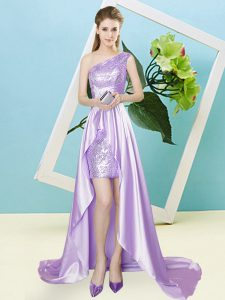 Sleeveless High Low Sequins Lace Up Homecoming Dress Online with Lavender