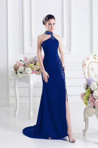 Halter Top Sleeveless Homecoming Dress Online Sweep Train Beading Royal Blue Elastic Woven Satin
