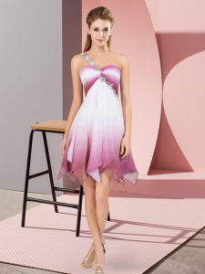 Super Multi-color Empire Fading Color One Shoulder Sleeveless Beading Asymmetrical Lace Up Homecoming Gowns